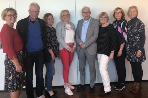 Styrelsen vald den 16 maj. Från vänster Lotta Håkansson, Jimmie Trevett (2:e vice ordf), Marina Carlsson, Veronica Magnusson Hallberg, Anders Gustafsson, Elisabeth Wallenius (ordförande), Maritha Sedvallsson och Marie Steen (1:e vice ordf)