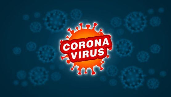 Bild på corona virus med texten corona virus