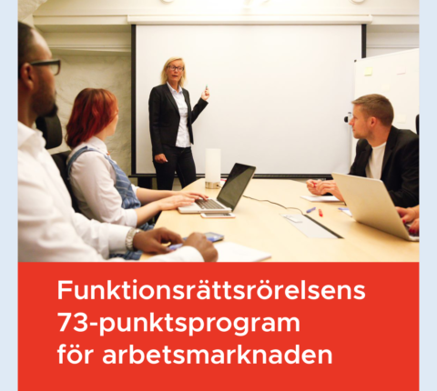 """Bilden visar ett sammanträdesrum och nedanför står texten """"Funktionsrättsrörelsens 73-punktsprogram för arbetsmarknaden"""""""
