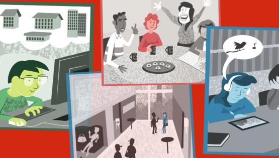 Illustrationen visar ett kollage av bilder med en person som söker bostäder, en annan bild visar en fikastund på jobbet, medan en bild visar en skolelev som läser via en läsplatta