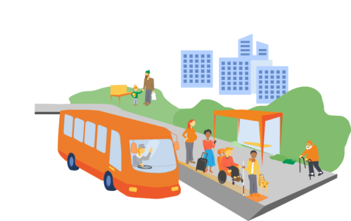 Illustrationen visar en grupp människor vid en busskur och en buss som anländer.